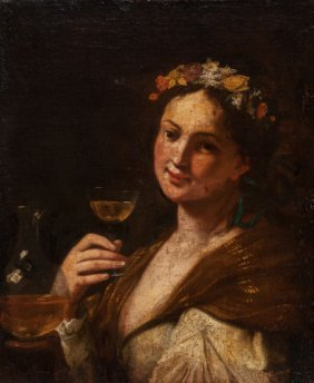 German School (18th Century) Woman With Wine Oil