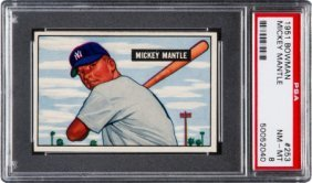 1951 Bowman Mickey Mantle #253 Psa Nm-mt 8. Argu