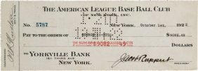 1922 Babe Ruth Signed New York Yankees Payroll C
