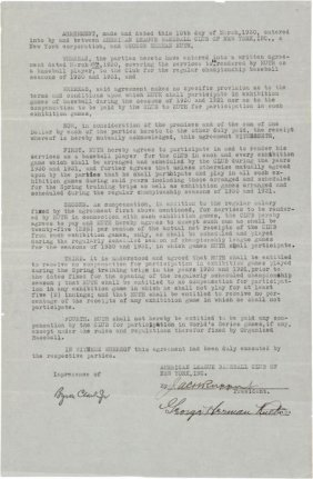 1930 Babe Ruth Signed New York Yankees Contract