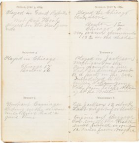 1874 Andy Leonard Personal Diary Documenting Bas