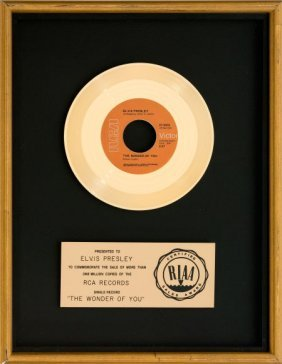 "Elvis Presley ""the Wonder Of You"" Riaa Gold Reco"