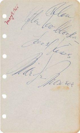 A Marilyn Monroe Funny Signature, 1955. On A Sma