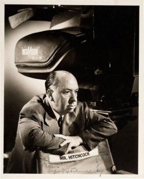 An Alfred Hitchcock Signed Black And White Photo