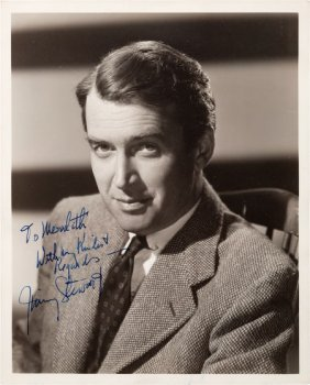 A Jimmy Stewart Signed Black And White Photograp