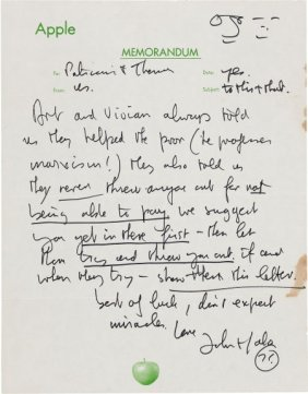 Beatles: John Lennon Handwritten Letter On Apple
