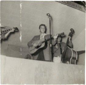 "Elvis Presley Signed Photo (1955). A 3"" X 3"" B&w"