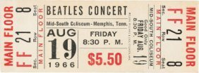 Beatles Unused Memphis Concert Ticket (1966). A