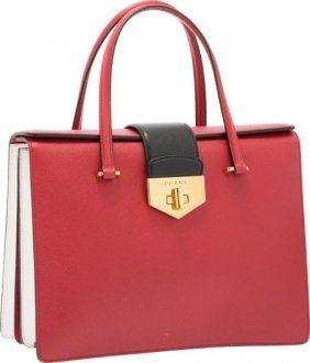PRADA - a cream deerskin leather handbag. : Lot 855