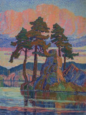 Birger Sandzén (american, 1871-1954) Lake At Sun