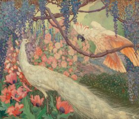 Jessie Arms Botke (american, 1883-1971) Peacock