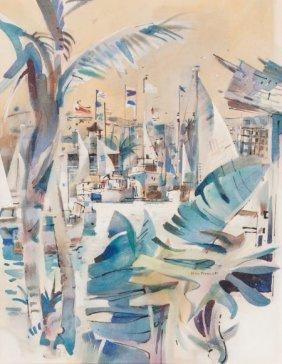 Rex Brandt (american, 1914-2000) San Diego Yacht