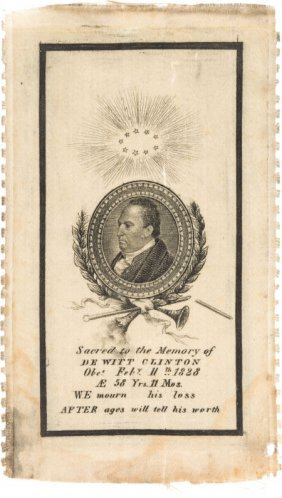 "Dewitt Clinton: 1828 Memorial Ribbon. 2.5"" X 4.5"