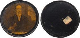 Henry Clay: Papier-mâché Campaign Snuff Box. 3 5