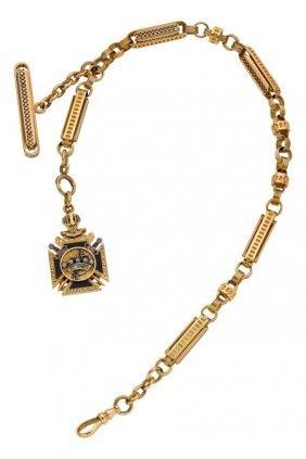 Massive & Rare Gold Watch Chain With Masonic Fob