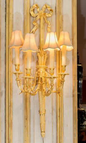 A Pair of Empire-Style Gilt Metal Four-Light Wall Sconc