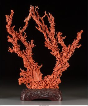 A Large Chinese Carved Coral Group With Avian Mo