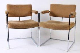 Pair Milo Baughman Designed Open Arm Chairs
