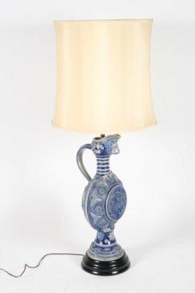 German Stoneware Ewer Mounted As Table Lamp