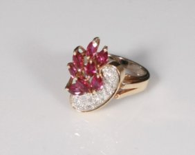 Ladies 14k Yellow Gold Ruby And Diamond Ring