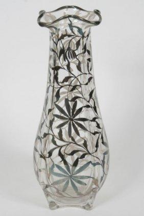 Silver Overlay Art Glass Vase