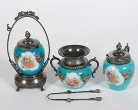 Group Of Three Opaline Glass Tableware Items