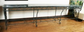 Marble And Wrought Iron Console Table
