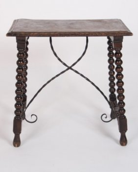 English Oak Tavern Table With Wrought Iron Accent