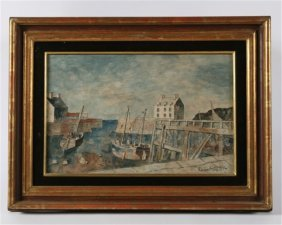 """Roland Oudot (1897-1981) """"port In Bessin"""""""