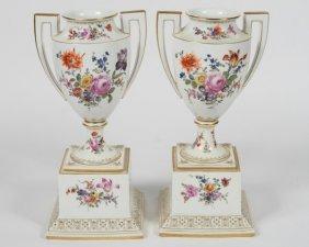 Pair Of Royal Vienna Porcelain Urns