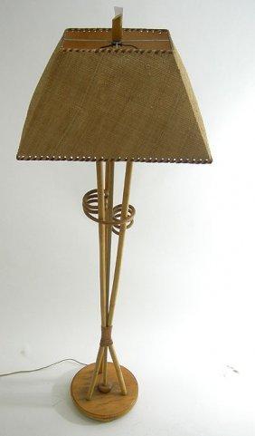RETRO MODERN RATTAN FLOOR LAMP EAMES ERA TIKI