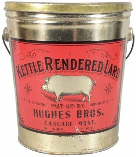 Kettle Rendered Lard Tin Pail