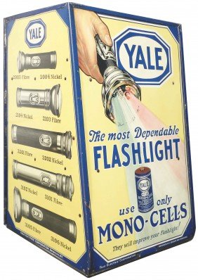 Yale Flashlight Tin Store Display Cabinet