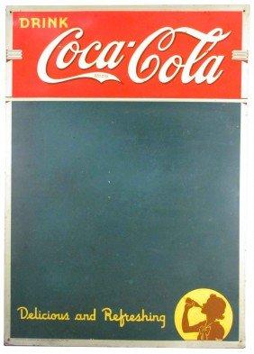 1940 Coca Cola Embossed Tin Blackboard