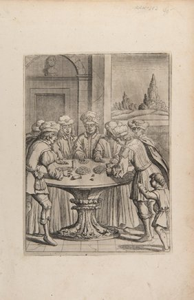 Dice Game Print. Germany, Ca. 1600. Copper Engraving On