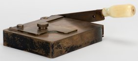 Card Trimmer. American, Ca. 1890. Unmarked. Brass With