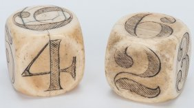 Pair Of Large Round Cornered Scrimshawed Ivory Dice.