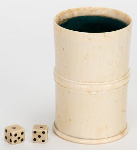 Ivory Dice Cup With Pair Of Dice. Nicely Turned Thick