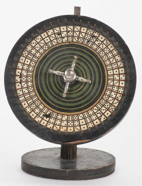 Dice Gambling Wheel On Stand. American, Ca. 1900. With