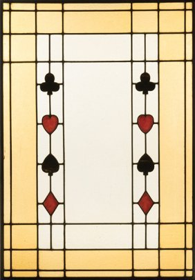 Three Leaded Stained Glass Windows With Suit Symbols.