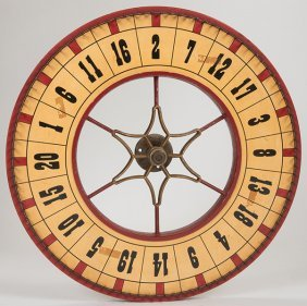 Carnival Wheel. Double-sided Wooden Wheel With Hand