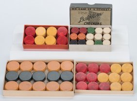 Three Sets Of Bakelite Checkers In Original Boxes And