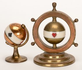 Two Globe Trump Indicators. Pair Of Copper, Brass And