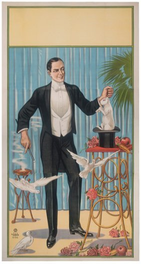 [stock Poster] Magician Pulling A Rabbit From A Hat.