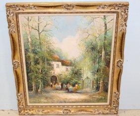 G. Colletti Picnic Scene Oil Painting