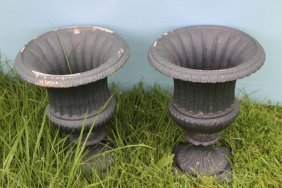 Pair Of Small Fluted Cast Iron Planters