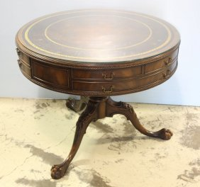 Weiman Drum Style Table With Leather Top