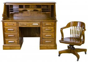 60 Oak Roll Top Desk And Chair By Jasper Cabinet Company