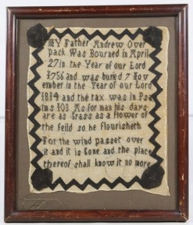 1814 Memorial Needlework Sampler