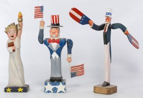 Carved And Painted Wood Patriotic Sculptures